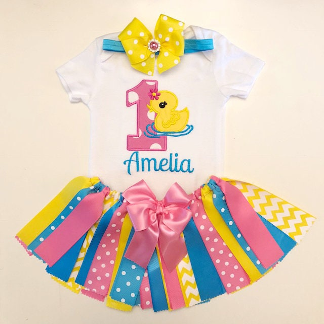 Ducky 1st Birthday Outfit Ribbon Skirt Personalized