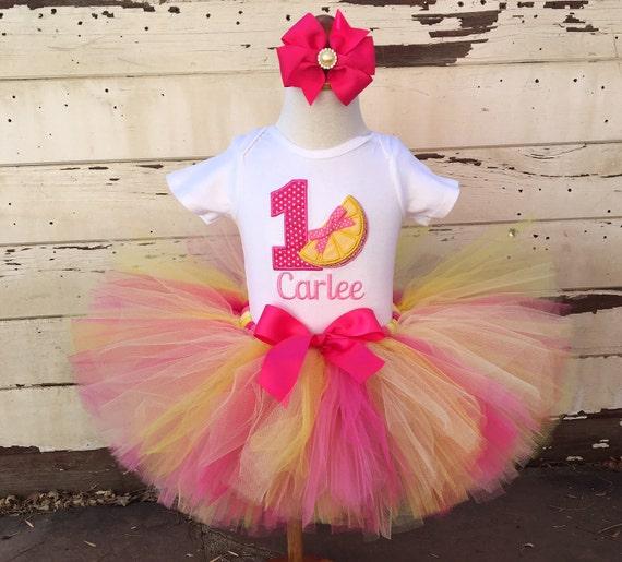33be72920 Pink Lemonade Tutu Outfit, 1st Birthday Girl, Hot Pink and Yellow,  Personalized Bodysuit, Sewn Tutu, Headband, Lemonade Stand, Cake Smash