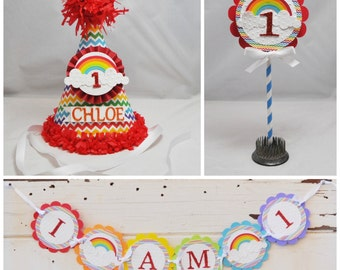 Rainbow Smash Cake Photo Props, 3 Piece Set, Girl 1st Birthday,  Personalized Party Hat, High Chair Banner, Cake Topper, Rainbow Birthday