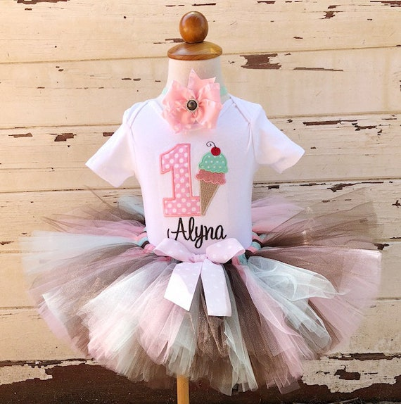72f47189 Ice Cream Cone Tutu Outfit, 1st Birthday Tutu Set, Sweet Shoppe, Pink Mint  Brown, Personalized Bodysuit, Sewn Tutu, Headband, Cake Smash Set