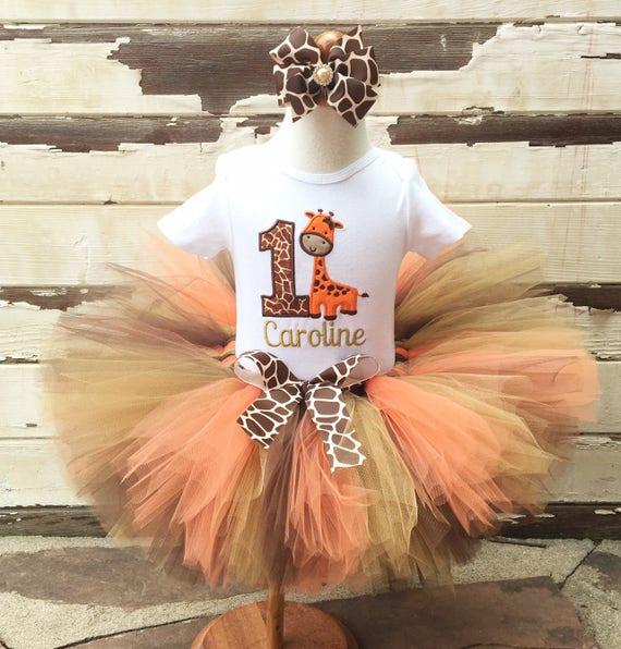 e3efd7184 Giraffe Tutu Outfit, 1st Birthday Tutu Set, Orange Gold Brown, Personalized  Bodysuit, Sewn Tutu, Headband, Baby Girl Cake Smash, Safari Set