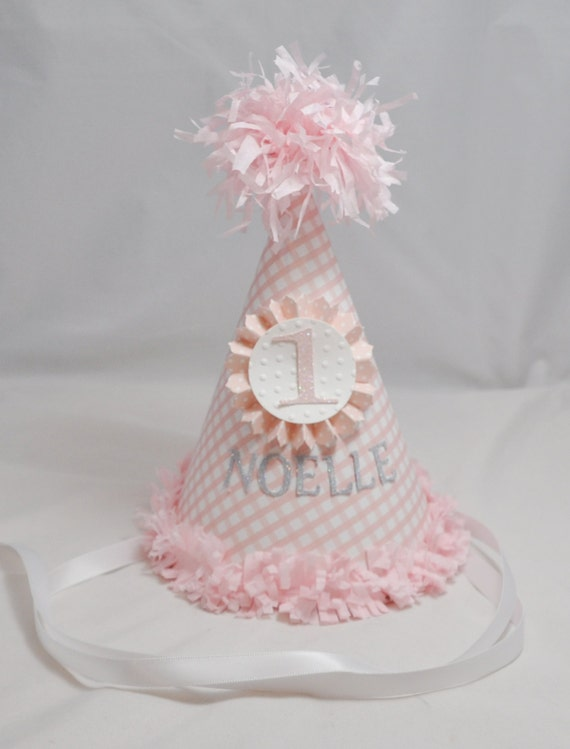 Gingham Birthday Hat 1st Birthday Girl Personalized Party Hat