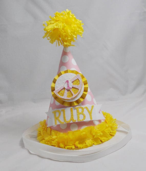 Pink Lemonade Party Hat 1st Birthday Girl Personalized Party Etsy