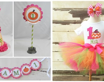 Pumpkin Tutu Outfit and Photo Prop Set, Halloween 1st Birthday Girl Party Package, Personalized Bodysuit,Hat, High Chair Banner, Cake Topper