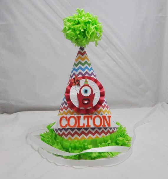 Monster Party Hat 1st Birthday Rainbow Chevron Little