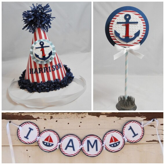 Awe Inspiring Boy Nautical Party Decor Smash Cake Photo Props 3 Piece Set Funny Birthday Cards Online Alyptdamsfinfo