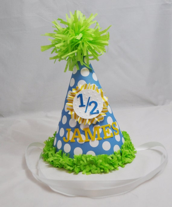 Boy Half Birthday Hat Personalized 6 Month Party 1 2 Photo Prop Boys