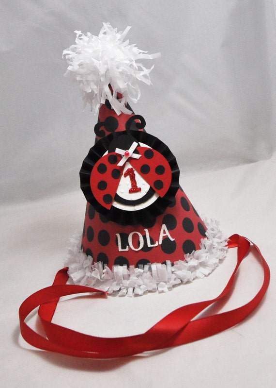 Ladybug Party Hat 1st Birthday Girl Personalized Cake Smash Photo Prop Red And Black Decor