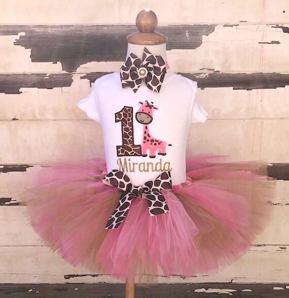 2ee488c9c Pink Giraffe Tutu Outfit, 1st Birthday Tutu Set, Pink Brown Gold, Jungle  Party, Personalized Bodysuit, Sewn Tutu, Headband, Cake Smash Set