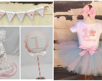 Shabby Chic Party Package, 1st Birthday Girl, Tutu Outfit, Personalized Party Hat, High Chair Banner, Cake Topper, Cake Smash Set