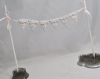 Shabby Chic Cake Bunting Name Banner with Flowers