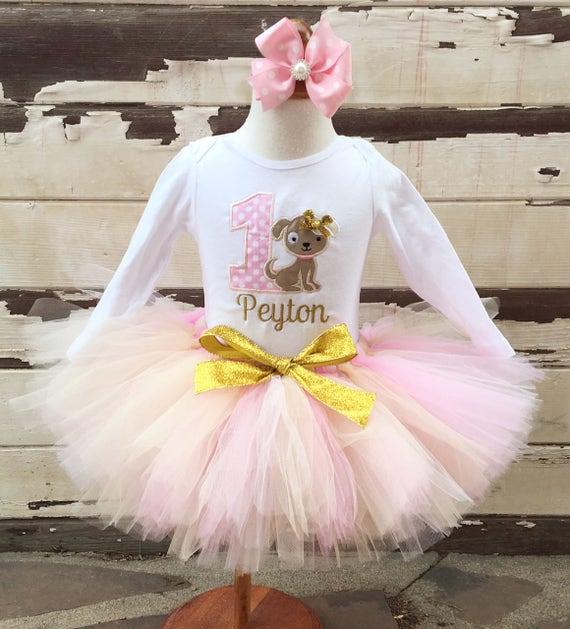 2fb2caa63 Puppy Tutu Outfit, 1st Birthday Tutu Set, Dog Birthday Outfit, Personalized  Bodysuit, Sewn Tutu, Headband, Pink & Gold or Custom Color