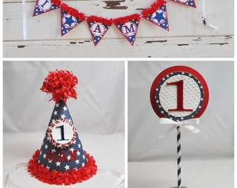 Stars and Stripes Smash Cake Photo Props, Set of 3, 1st Birthday, Patriotic Birthday, Personalized Party Hat, High Chair Banner, Cake Topper