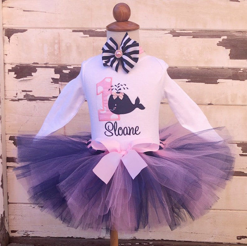 Nautical Anchor Whale Pink Baby Girl 1st First Birthday Tutu Outfit Shirt Set