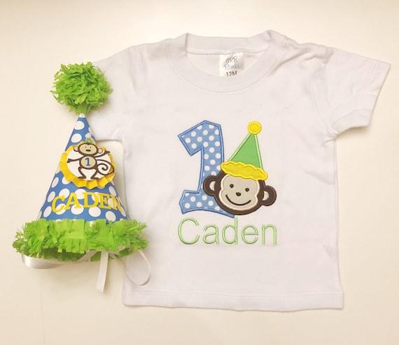 Monkey Bodysuit And Party Hat Set 1st Birthday Boy Personalized