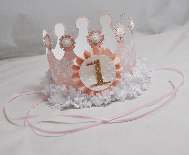 Damask Birthday Crown Pink and Gold 1st Birthday Girl