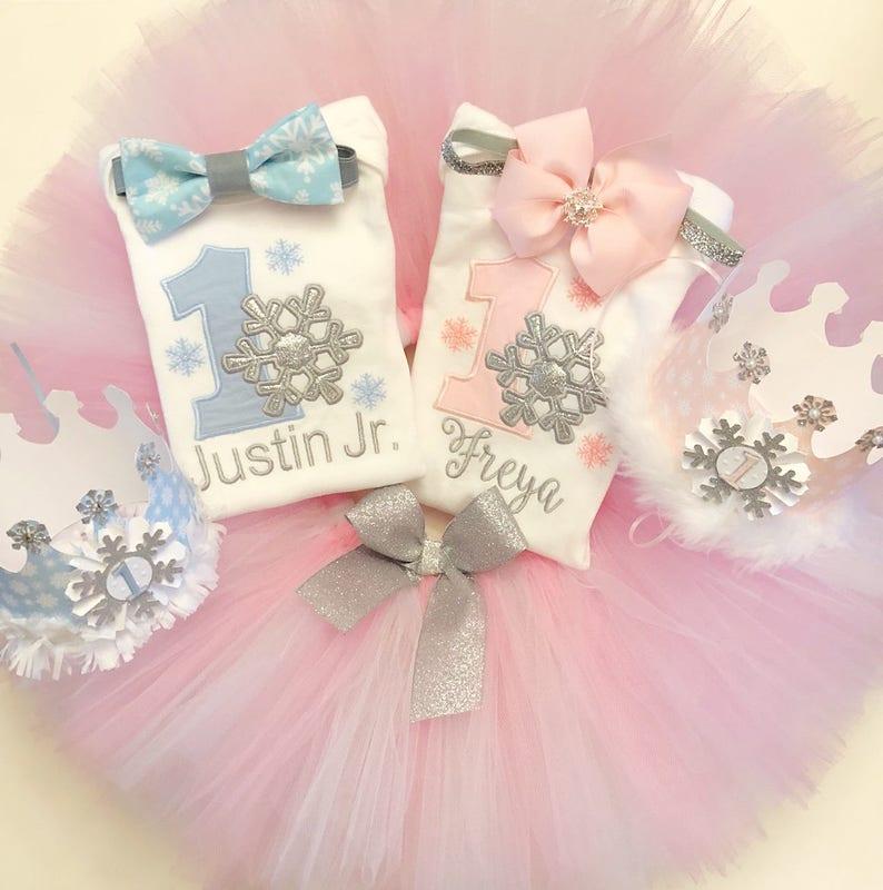 4dc1929c2 Deluxe Snowflake Boy/Girl Twin 1st Birthday Cake Smash or | Etsy