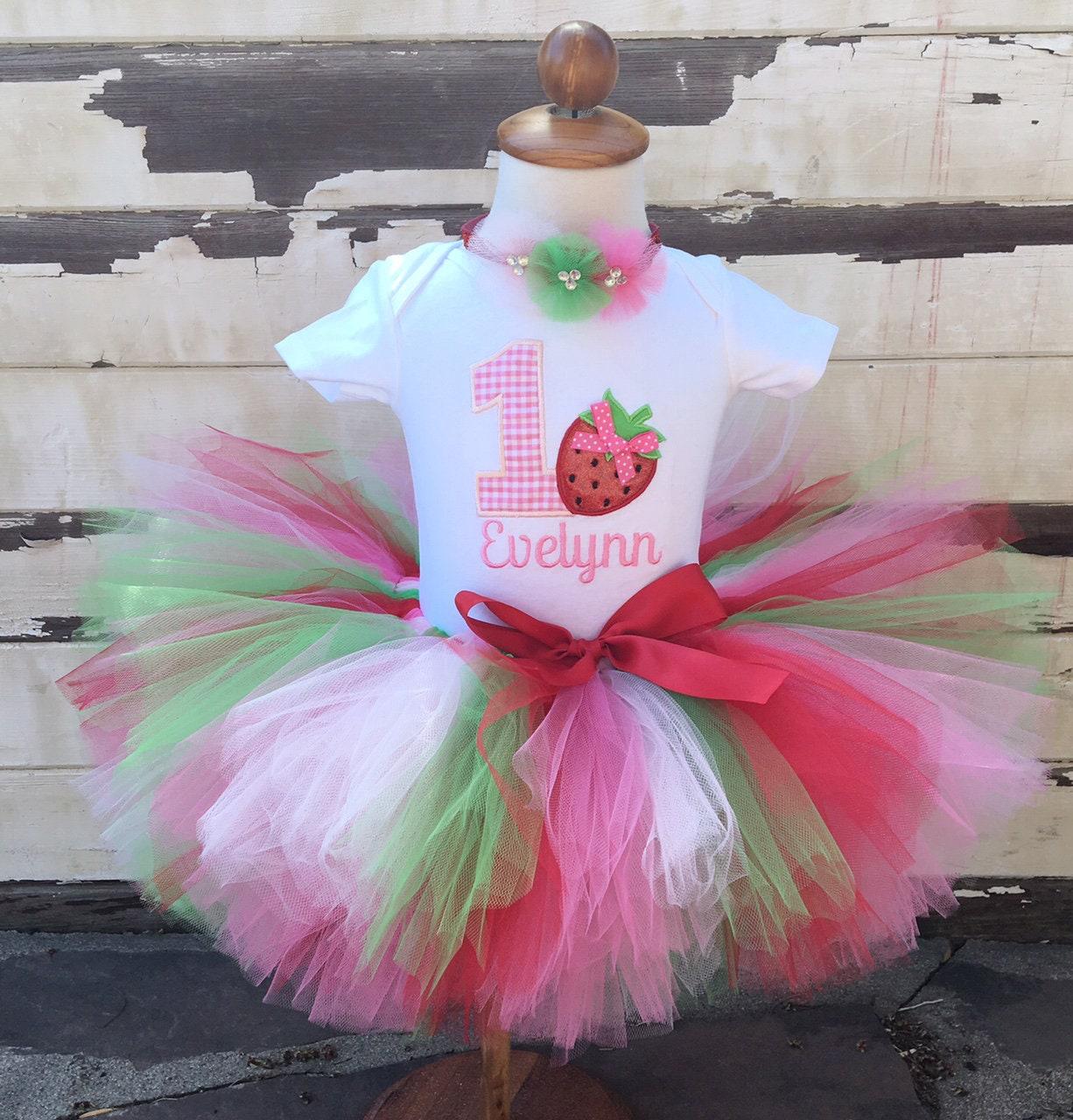 Strawberry Tutu Outfit 1st Birthday Tutu Set Personalized