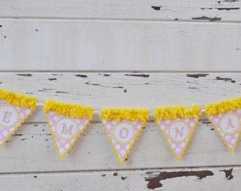 Pink Lemonade Banner, Lemonade Birthday, Pink Lemonade Party, Lemonade Stand, Birthday Banner, Pink and Yellow, Lemonade Party, Lemons