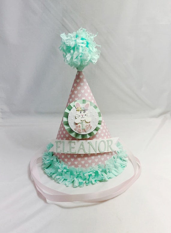 Bunny 1st Birthday Party Hat Pink And Mint Heart Themed