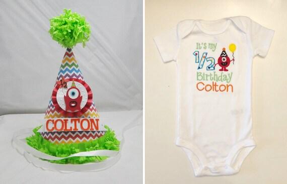 Monster Half Birthday Party Hat And Shirt Set 1 2 Boy