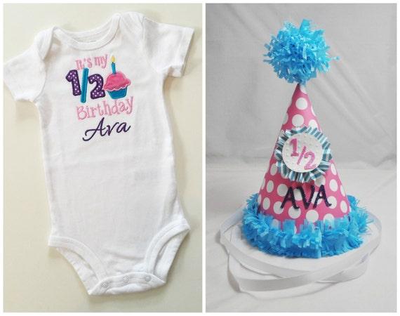 Girl Half Birthday Hat And Matching Bodysuit Shirt Set