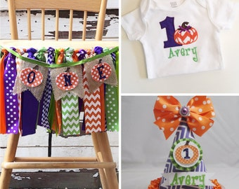 Pumpkin Halloween Party, Smash Cake Photo Props 3 Piece Set, 1st First Birthday Girl, ONE High Chair Banner, Personalized Hat and Bodysuit