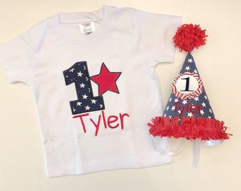 Patriotic 1st Birthday Shirt Bodysuit and Party Hat Set- Personalized- 4th of July - Stars and Stripes