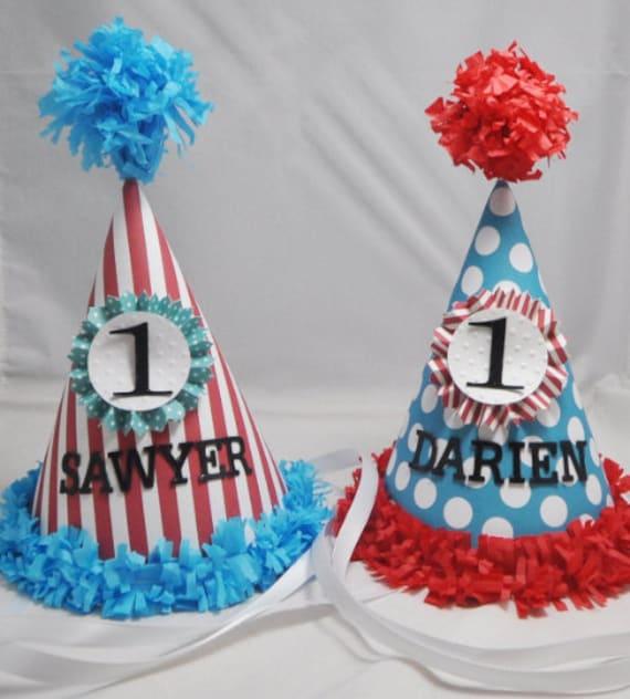 Wondrous Boy Girl Twins Party Hats Personalized 1St Birthday Smash Cake Funny Birthday Cards Online Elaedamsfinfo