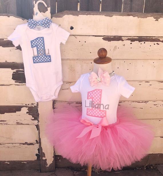 17d1a80e2 Twin Birthday Set, Boy/Girl Twin Tutu, 1st Birthday Outfit, Pink and Blue,  Personalized Bodysuit, Sewn Tutu, Bow Tie, Headband, Cake Smash