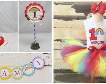 Rainbow Tutu Outfit and Cake Smash Set, Photo Prop Set,  Party Package, 1st Birthday Girl. Rainbow Banner, Bunting, Party Hat, Cake Topper