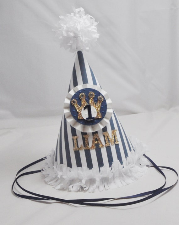 Little Prince Party Hat 1st Birthday Boy Personalized Crown