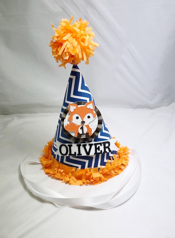 Fox Birthday Hat 1st Personalized Party