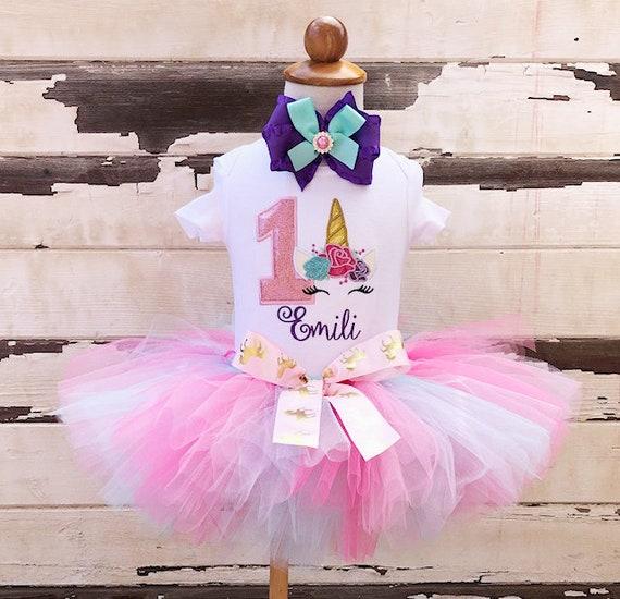0a80b2a71 Unicorn Tutu Outfit, 1st Birthday Tutu Set, Floral Unicorn Face,  Personalized Bodysuit, Sewn Tutu, Headband, Baby Girl Cake Smash, Gold