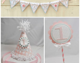 Girl Shabby Chic Smash Cake Photo Props, 3 Piece Set, 1st Birthday Girl. Personalized Party Hat, High Chair Banner, Cake Topper. Photo Props