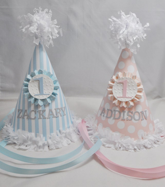 Twin Photo Props Set 1st Birthday Personalized Party Hats Cake Toppers High Chair Banners Boy Girl Smash