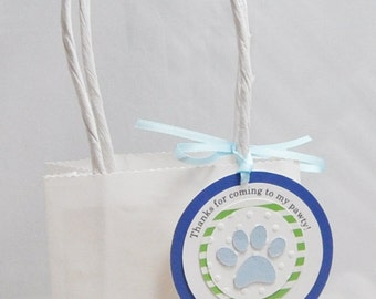 Personalized Dog Paw Thank You Favor Bag Tags Set of 12, Puppy Party Birthday Decor Decorations