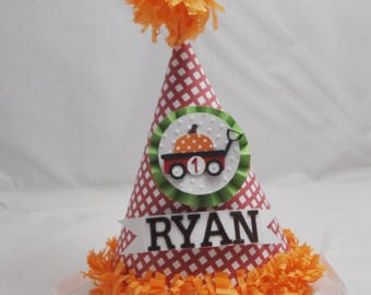 Pumpkin Wagon Party Hat Personalized, 1st First Fall Birthday Boy or Girl, Smash Cake Photo Prop