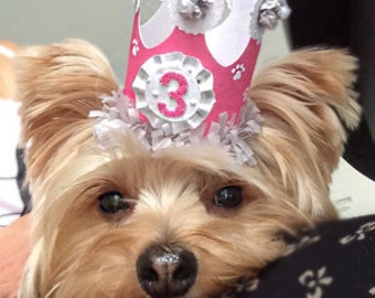 Girl Dog Birthday Crown, Pet Supplies, Puppy Party Decorations Hat Tiara, Doggy Photo Prop