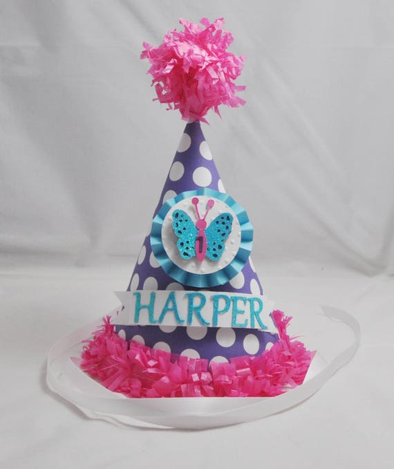 Marvelous Butterfly Party Hat Personalized 1St First Birthday Girl Cake Funny Birthday Cards Online Overcheapnameinfo