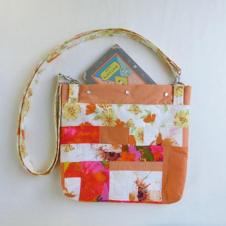 Book Bag Tote  Orange Patchwork  Upcycled Purse  Roy G Biv image 0