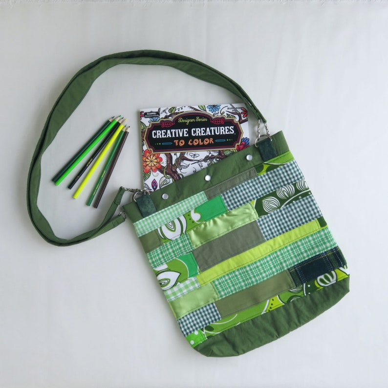 Upcycled Tote Bag  Green Patchwork  St Patricks Day  Roy G image 0