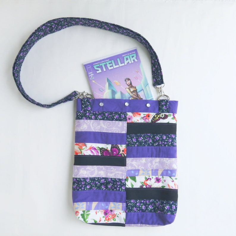 Book Bag Purse  Purple Patchwork  Upcycled Bag  Roy G Biv image 0