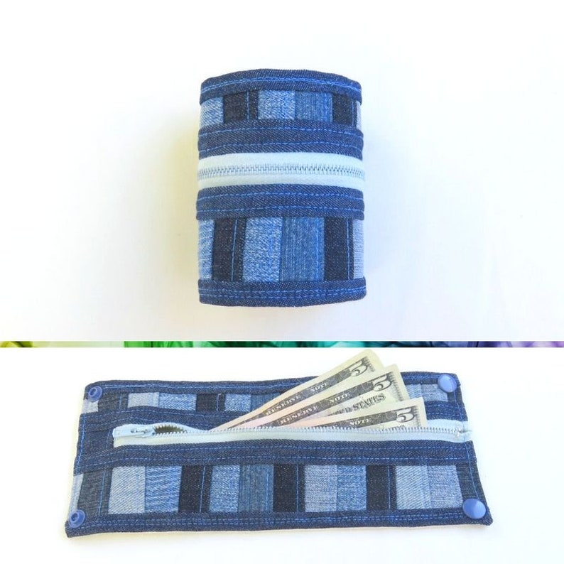 Wrist Wallet Women  Denim Patchwork  Upcycled  Travel image 0