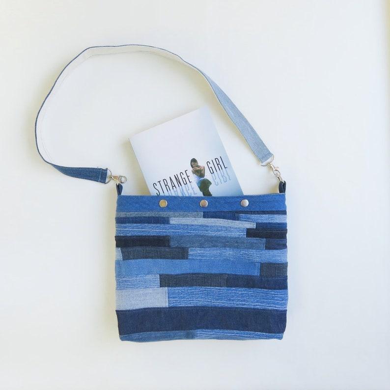 Denim Bag Purse  Patchwork  Upcycled Bag  Roy G Biv image 0