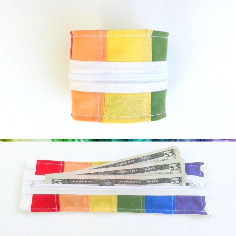 Rainbow Wrist Cuff  Wrist Wallet  Upcycled Patchwork  Roy G image 0