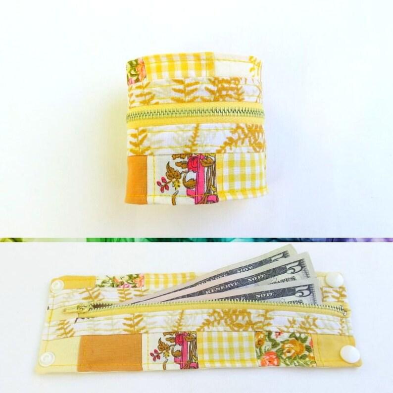 Hidden Pocket Bracelet  Yellow Patchwork  Shabby Style image 0