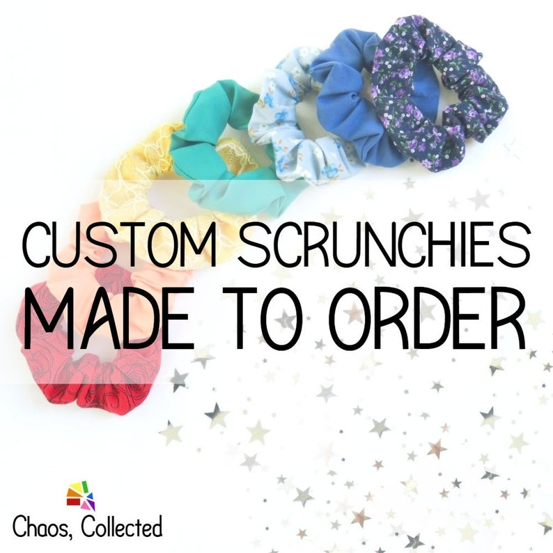Scrunchies Pack  CUSTOM MADE  Set of 7  Upcycled Ponytail image 0