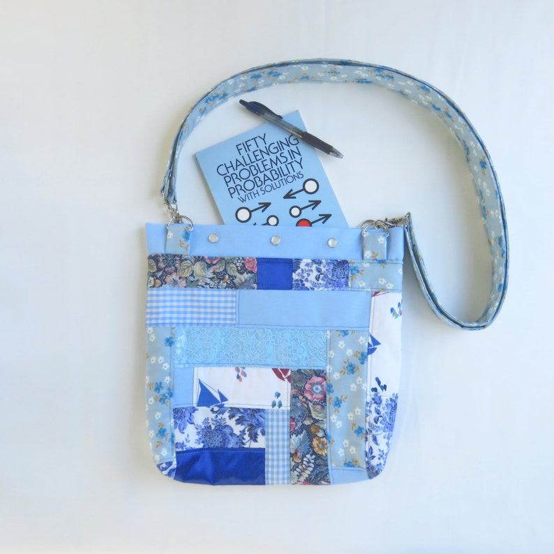 Quilted Tote Bag  Blue Patchwork  Upcycled Purse  Roy G Biv image 0