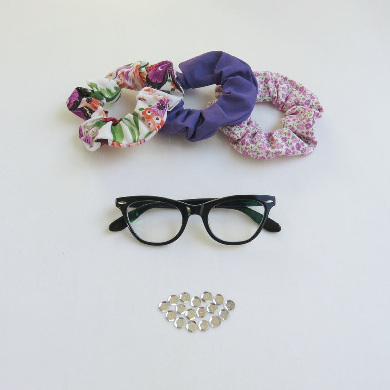 Purple Scrunchies  Set of 3  Upcycled  Floral Print  image 0